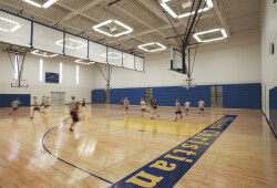 Our gym: host to PE and athletic events.